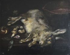 Aime Perrel.  (French. 19th Century) Dead hare with onion, mushrooms and garlic with cook pot.
