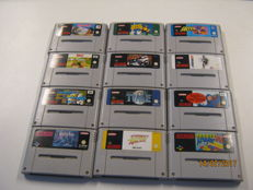 Lot of 12 very Super Nes games some are rare. Games like: Secret of mana, Time, Tom and  jerry, GP1,etc