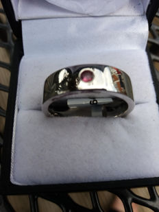 A Subtle Genuine Sterling Silver Ring with Mozambique Pink Tourmaline