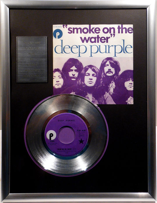 "Deep Purple - Smoke on the Water - 7"" Single Purple Records platinum plated record Special Edition"