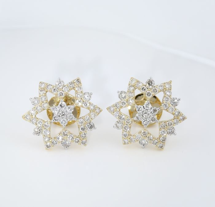 IGI Certified 18 kt/750 Yellow Gold Diamond Earrings - Diamonds 1.42 ct.