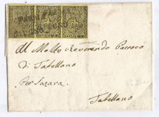 "Parma 1853 – Strip of three 5 c. stamps on letter with ""bell"" stamp from Reggio on the back"