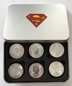 Canada – 5 dollars 2016 'Superman' (x6) in steel box – 6 x 1 oz silver