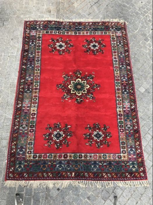 Large antique Moroccan Rabat carpet, handmade, 206 x 304 cm