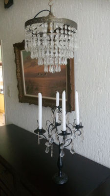 Beautiful vintage Venetian candlestick and a vintage icicle hanging lamp