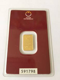 Gold bar, 2 gr Munze, Osterreich