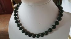 Vintage Jade green beads necklace with silver clasp, ca. 1950's,  91 grams