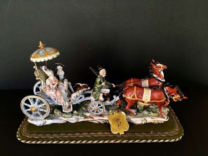 Capodimonte Signed Fornili Large group: Rococo Carriage with Coachman, Lady and Knight