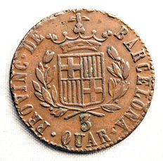 Spain - Fernando VII - 3 copper quarters - 1823 - Barcelona.