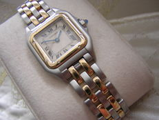 Cartier Panthere Ladies Watch Steel and 18k Yellow Gold Two-Tone 2-Row