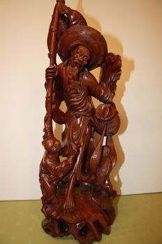Boxwood sculpted statue of a fisherman and his son - China - ca. 1930
