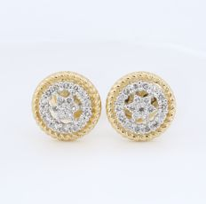 IGI Certified 18 kt/750 Yellow Gold Diamond Earrings - Diamonds 0.49 ct.  - 10 mm