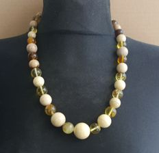 Natural white beige Amber necklace with multi colour round beads, 58 gram