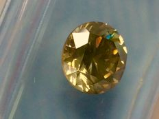 Round Brilliant Cut Diamond - 2.09 Ct - SI1 VG/VG/VG - Fancy Grayish Yellow