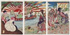 "Original triptych woodcut by Watanabe Nobukazu (1874-1944) - ""The Seven Lucky Gods Visiting the Wedded Rocks"" - Japan - around 1900"