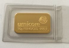 Umicore: 10 g gold bars, shrink-wrapped