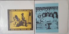 Rolling Stones - lot of 2 LPs: 1. in Exotic Honolulu (Pig's Eye 1) made in USA 1974 | 2. Jack Daniels On Tour (R.S.V.P. 006) made in USA 1979 colored vinyl | unofficial Fanclub albums