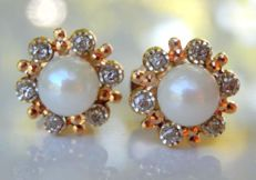 18 kt earrings with diamonds and freshwater pearls of 5 mm.