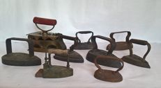 Large lot of 9 pieces of antique stove bolts and flat irons (coal and block irons) - Solid cast iron/wood and copper