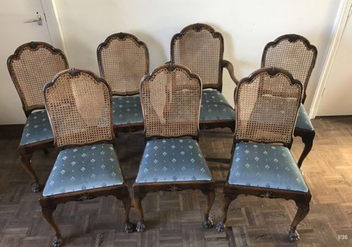 Seven mahogany chairs with wicker backrest - England - early 20th century