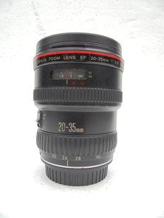 A Canon Zoom lens EF 20-35 MM 1:2.8 L made in Japan.