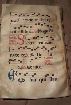 Four pages of a 16th-century antiphonary