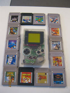Transparent original Nintendo Gameboy including 14 real good games. like: Zelda + Wario land + Kirby's dreamland and more