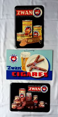 3 antique advertising signs of Zwan meats