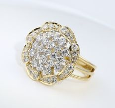 IGI Certified 18 kt Yellow Gold 1.32 ct. Designer Diamond ring - Ring size : 53 (FR) and 16.5 NL  - Top Width 20 mm