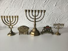 3 Jewish candlesticks and 2 napkin holders