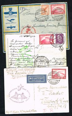 German Reich - 3 Zeppelin postal items