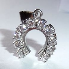 "Pendant lucky charm ""horseshoe"" weighing 10 x 0.10 ct Brilliant cut diamonds weighing 1 ct in total"