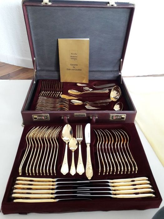 Nivella Solingen - 72 piece gold plated luxury cutlery - set for 12 people - 23 & Nivella Solingen - 72 piece gold plated luxury cutlery - set for 12 ...