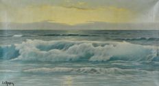 Édouard Mandon. (1885-1977)  A seascape at dusk.