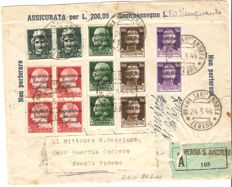 Italy 1944 / Local Issues Teramo, Cent. 15; 25; 30; 50 used on insured envelope from Penna Sant' Andrea to Ascoli Piceno.