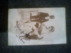Postcard signed by THORA, ventriloquist