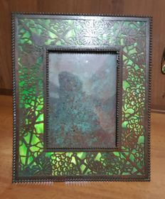 Tiffany Studios New York - bronze and glass paste Photo frame 'Grapevine'