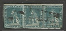 Toscana 1851/52:  2 crazie grenish blue (no. 53) strip of three
