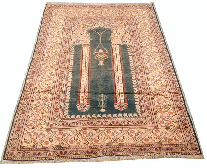 Fine Quality Hand Knotted Turkish Kaisery Silk Prayer Carpet Area Rug 180 cm x 120 cm