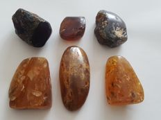 Natural Amber red blue yellow polished rough - 257 gm - (6 pcs)