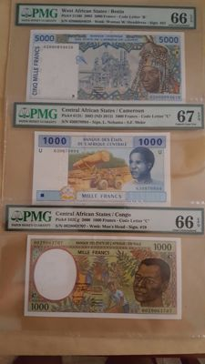 World - West and Central African States - 2 x 1,000 and 1 x 5,000 francs - Pick 213Bi, 102Cg and 612U