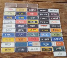 Complete lot  51 Rombouts koffie mini bicycle license plates 1958-68 in cases