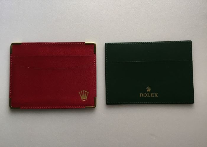 ROLEX  Classic red leather clip and green clip--No Reserve Price