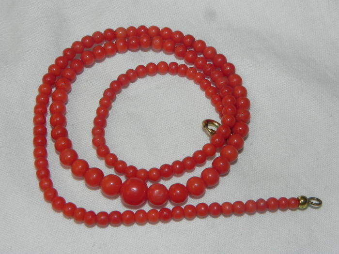 Old coral necklace real coral necklace - red
