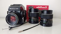 Mamiya M645, analogue medium format camera with 3 original lenses and PD Prism Finder