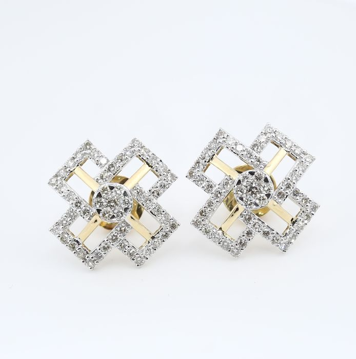 IGI Certified 18 kt/750 Yellow Gold Diamond Earrings - Diamonds 1.28 ct.
