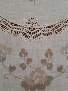 Bobbin lace - hand embroidered tablecloth - Italy.