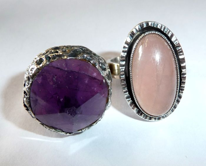 2 solid large rings made of 935/835 silver with large amethyst and rose quartz, ring size 54-55 / 17.2-17.5 mm - adjustable