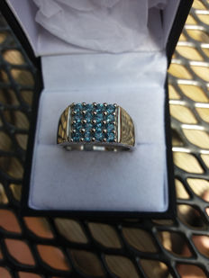 An Exquisite Genuine Brazilian Marambaia London Blue Topaz Mens Sterling Silver Ring.