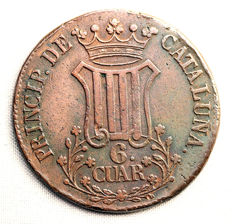 Spain – Isabel II – 6 Cuartos in copper – 1838 – Catalonia